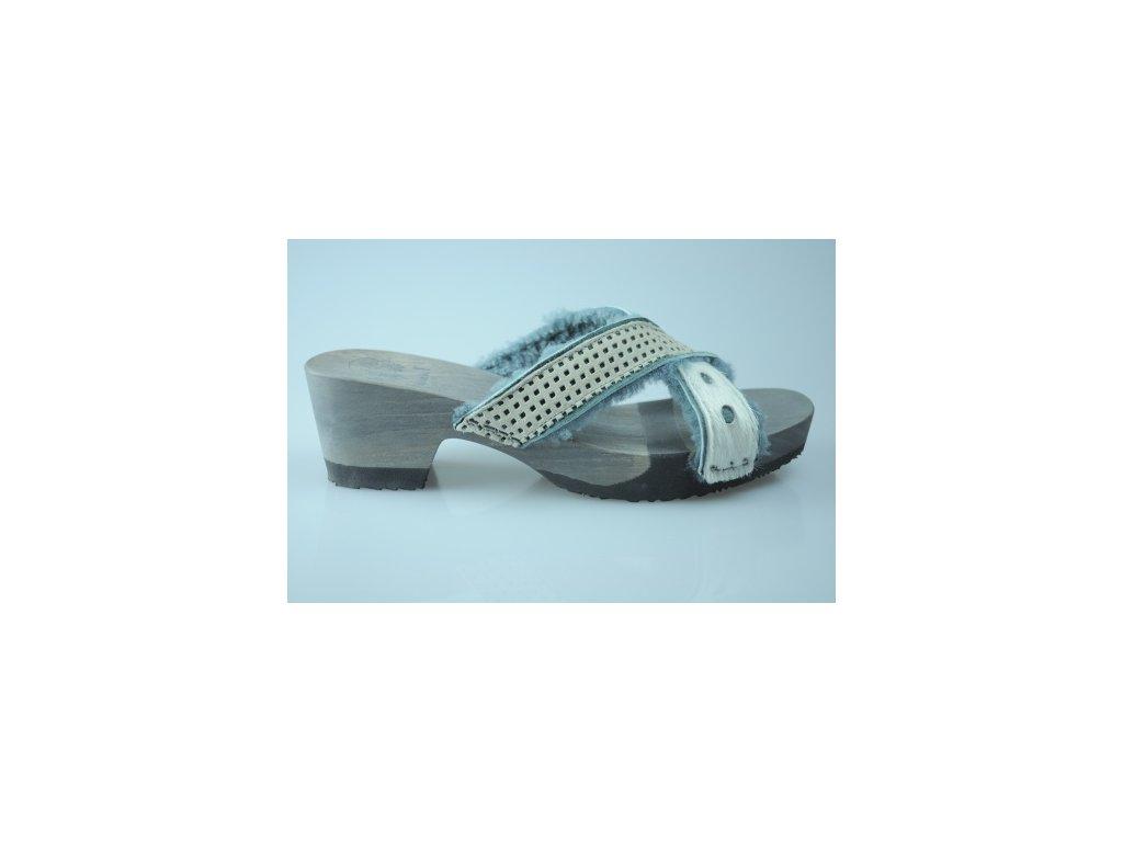 Dámské pantofle na podpatku Think! WOOD SILVER (Velikost 39)