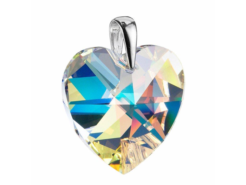 Stříbrný přívěsek s krystaly Swarovski AB efekt srdce 34004.2