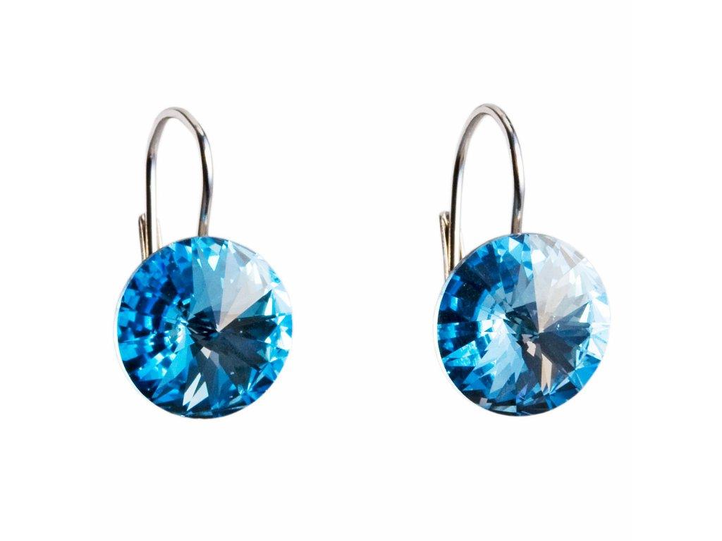 Stříbrné náušnice visací s krystaly Swarovski modré kulaté 31106.3 aquamarine