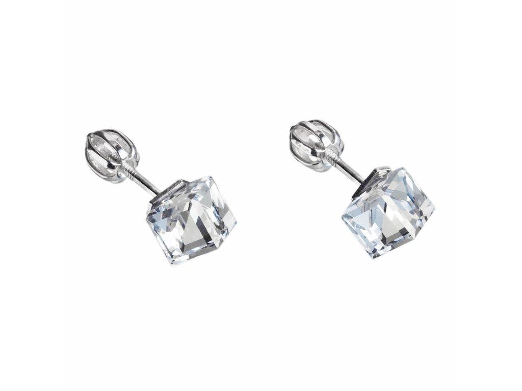 Stříbrné náušnice pecka s krystaly Swarovski bílá kostička 31030.1