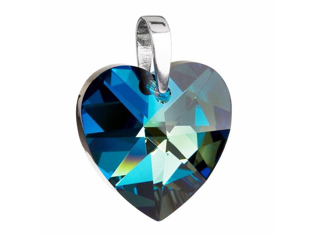 Stříbrný přívěsek s krystaly Swarovski modré srdce 34004.5