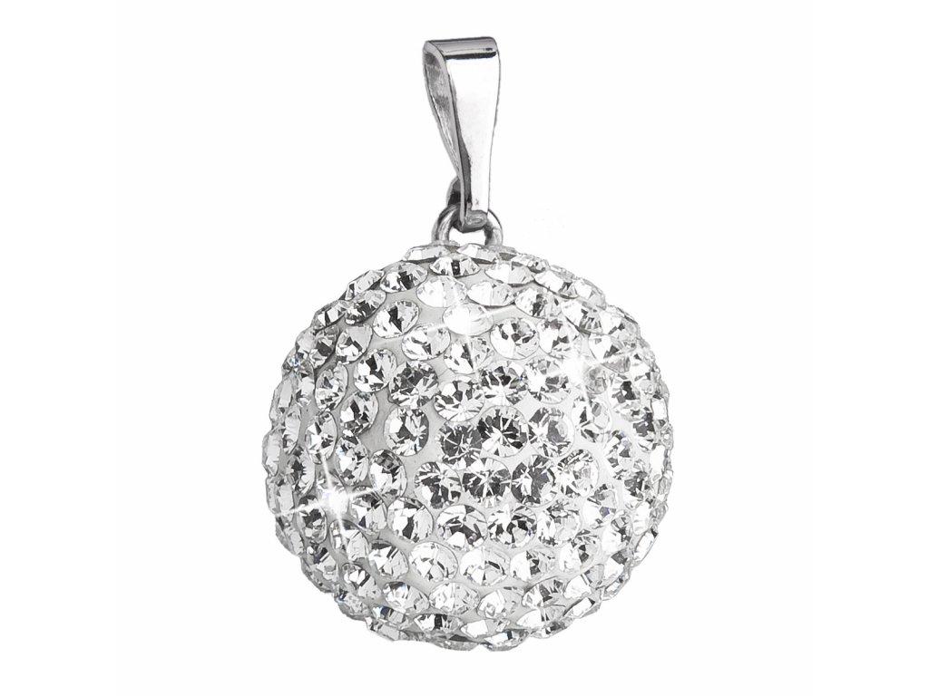 Stříbrný přívěsek s krystaly Swarovski bílý kulatý 34081.1