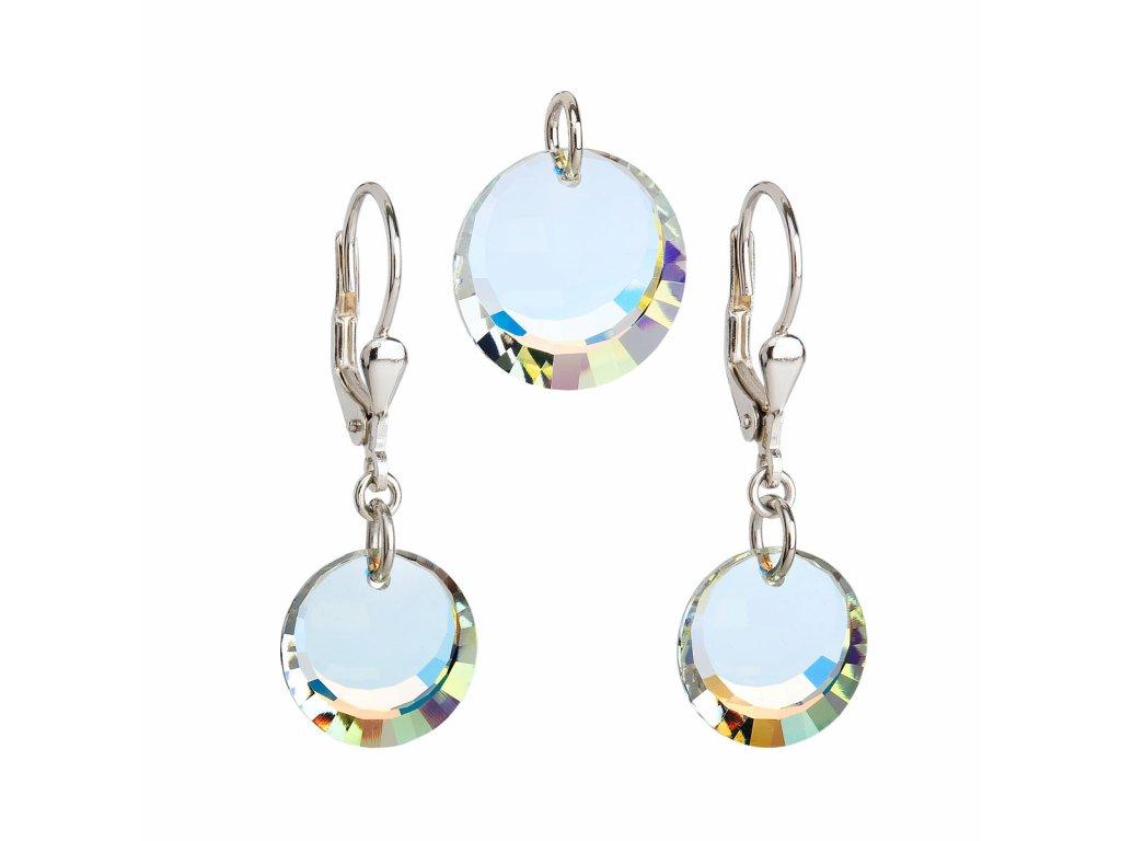 Sada šperků s krystaly Swarovski náušnice a přívěsek AB efekt bílé kulaté 39017.2