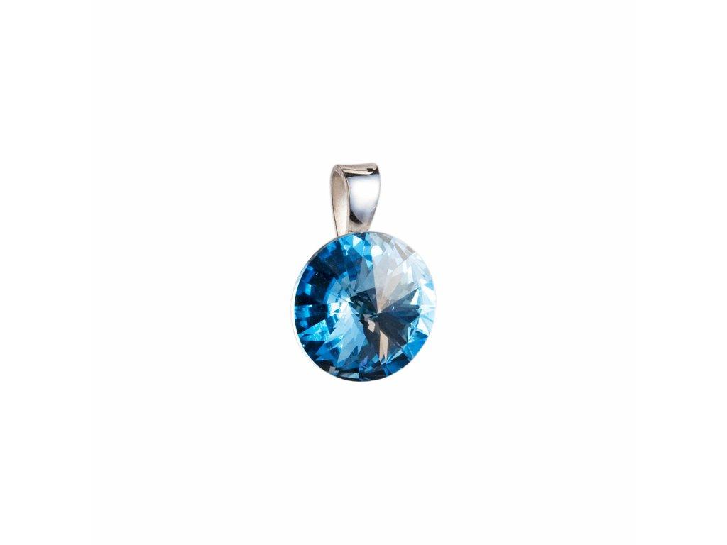 Stříbrný přívěsek s krystaly Swarovski modrý kulatý-rivoli 34112.3