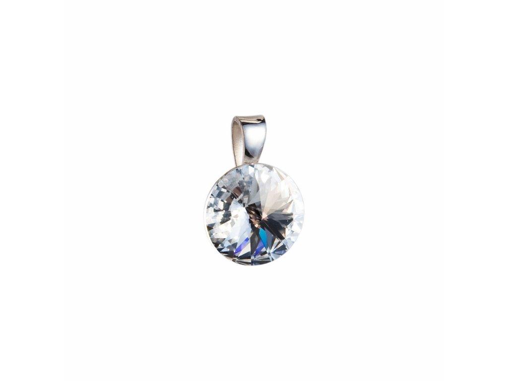 Stříbrný přívěsek s krystaly Swarovski bílý kulatý-rivoli 34112.1