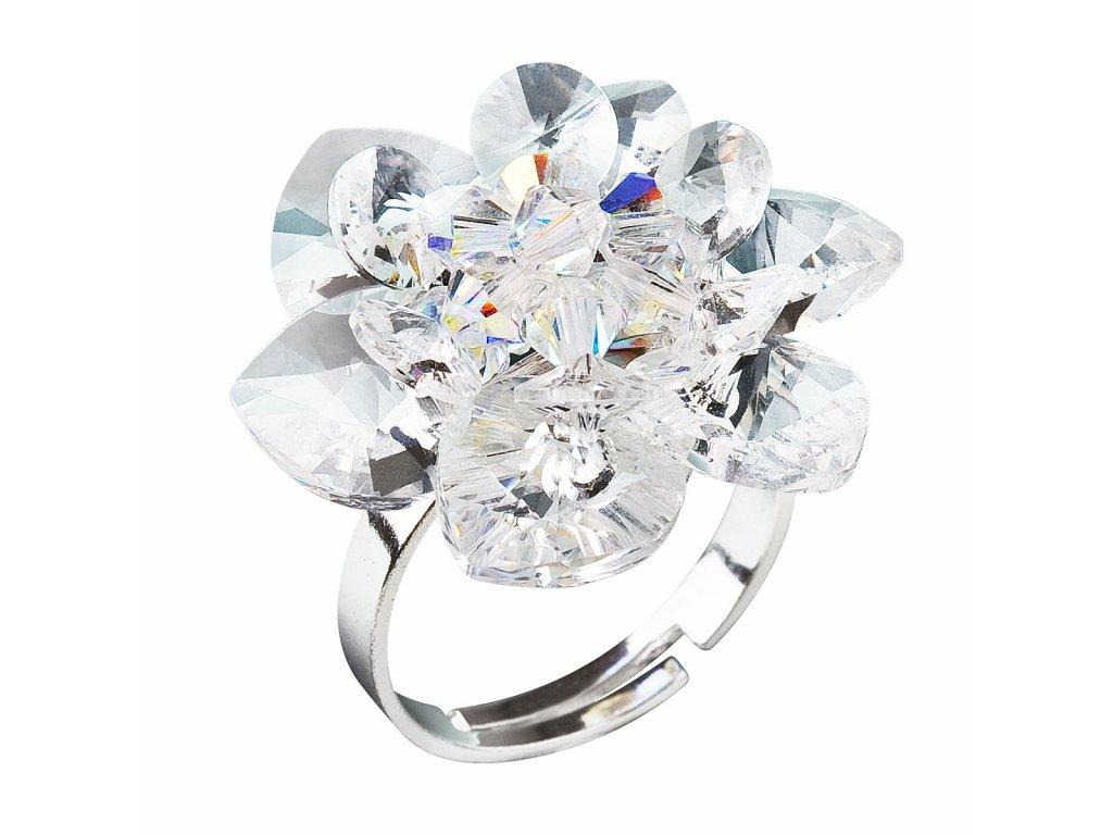 Stříbrný prsten s krystaly Swarovski bílá kytička 35012.1
