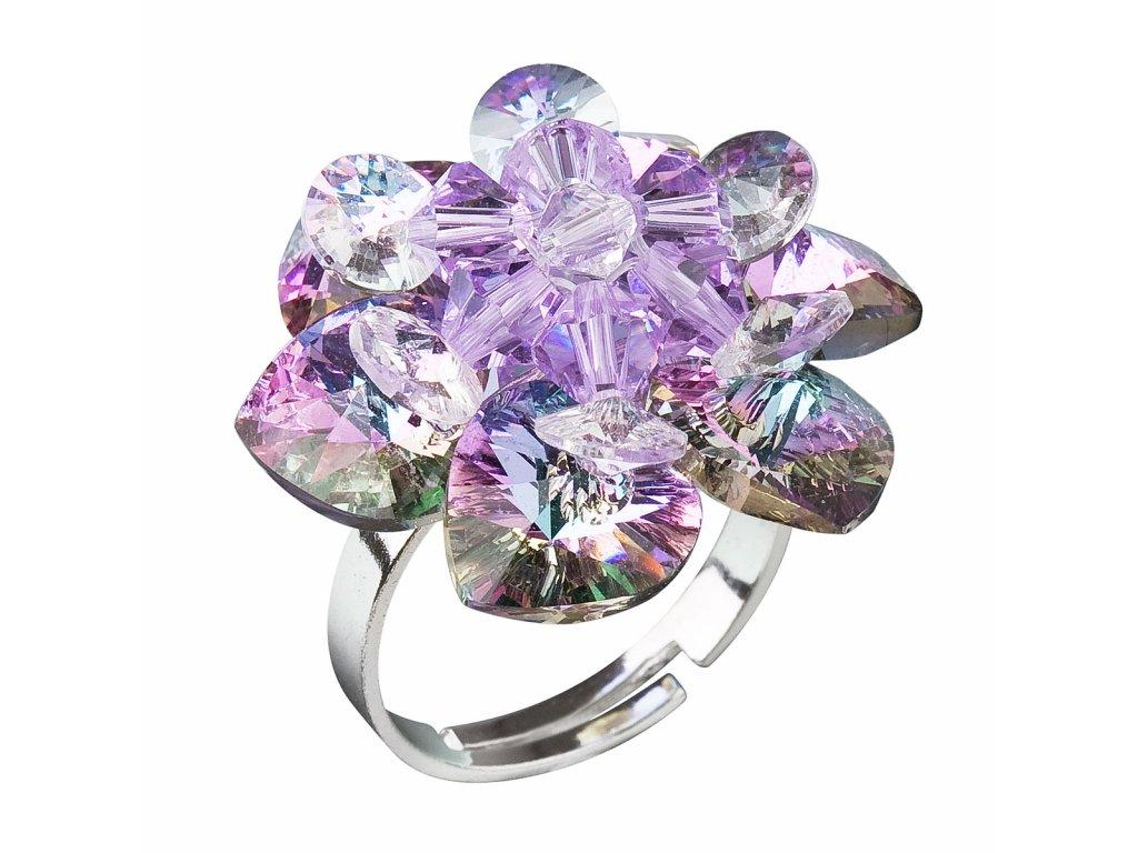 Stříbrný prsten s krystaly Swarovski fialová kytička 35012.5