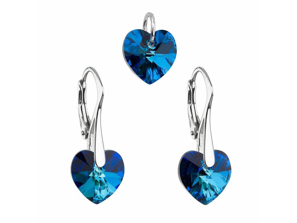 Sada šperků s krystaly Swarovski náušnice a přívěsek modrá srdce 39003.5 bermuda blue