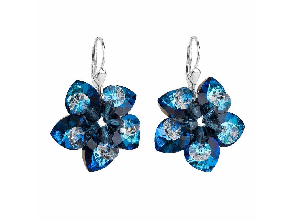 Stříbrné náušnice visací s krystaly Swarovski modrá kytička 31130.5
