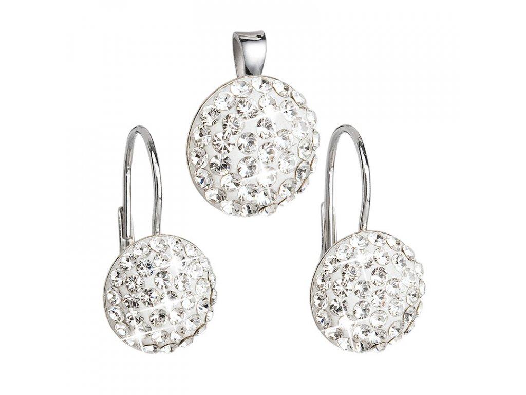 Sada šperků s krystaly náušnice a přívěsek bílé kulaté 39086.1