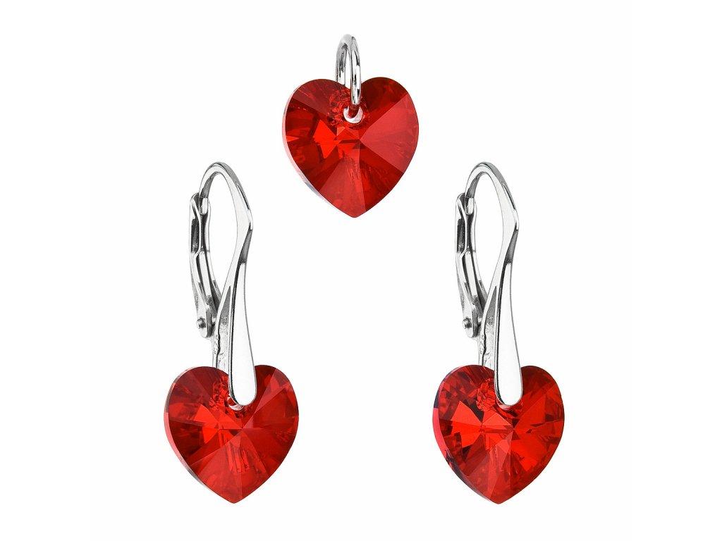 Sada šperků s krystaly Swarovski náušnice a přívěsek červená srdce 39003.4