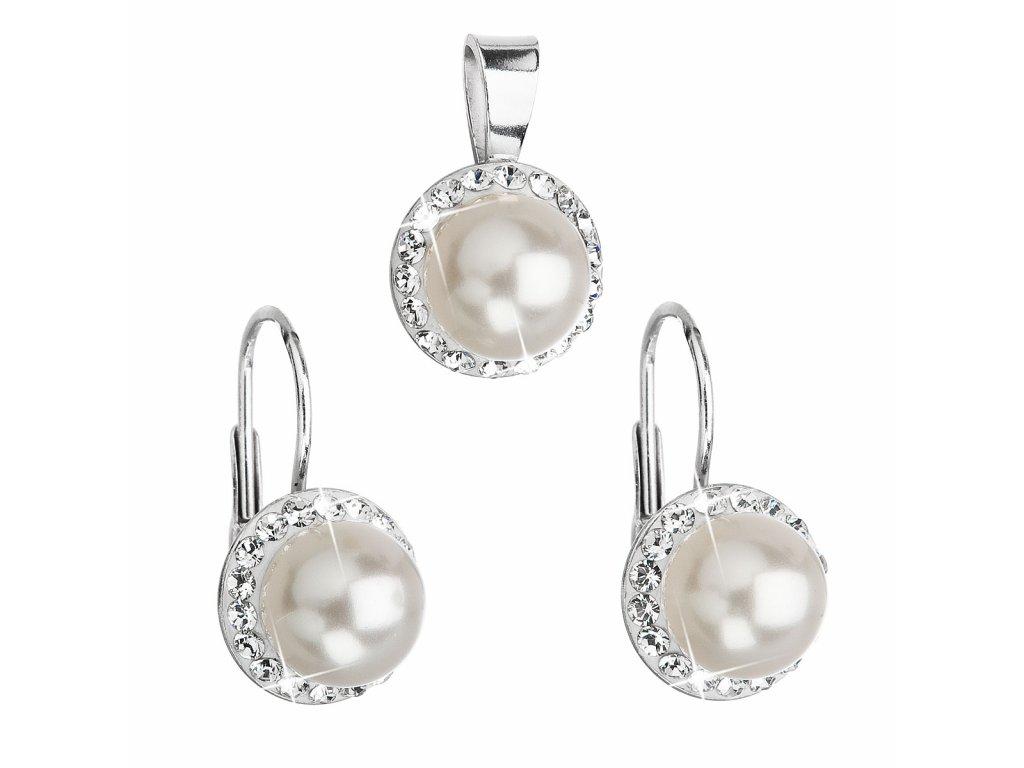 Sada šperků s krystaly Swarovski náušnice a přívěsek bílá perla kulaté 39091.1