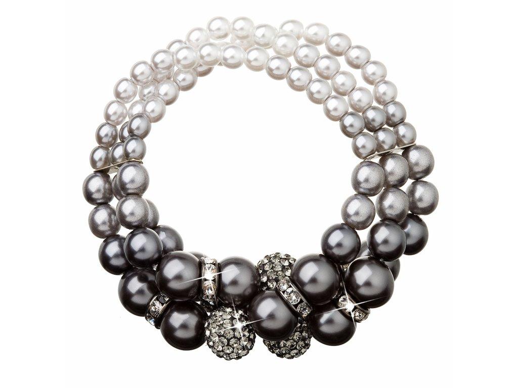 Perlový náramek šedý s krystaly Swarovski 33064.3