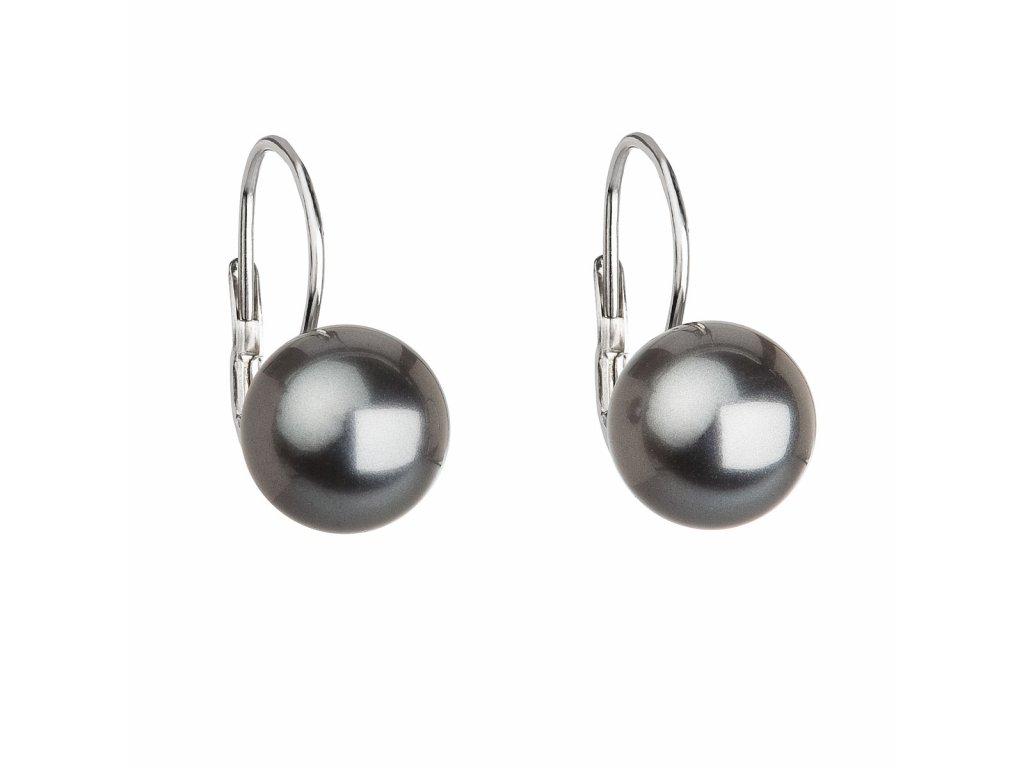 Stříbrné náušnice visací s perlou Swarovski šedé kulaté 31143.3 grey