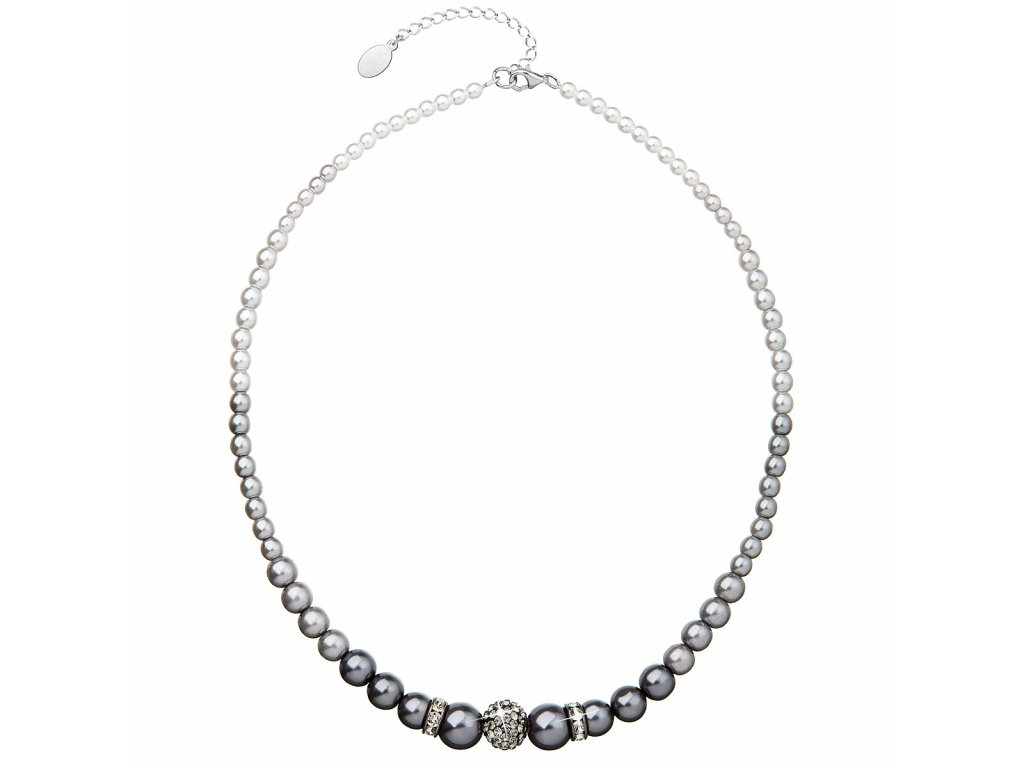 Perlový náhrdelník šedý s krystaly Swarovski 32008.3