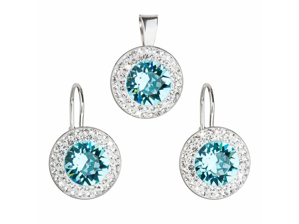 Sada šperků s krystaly Swarovski náušnice a přívěsek modré kulaté 39107.3 turquoise