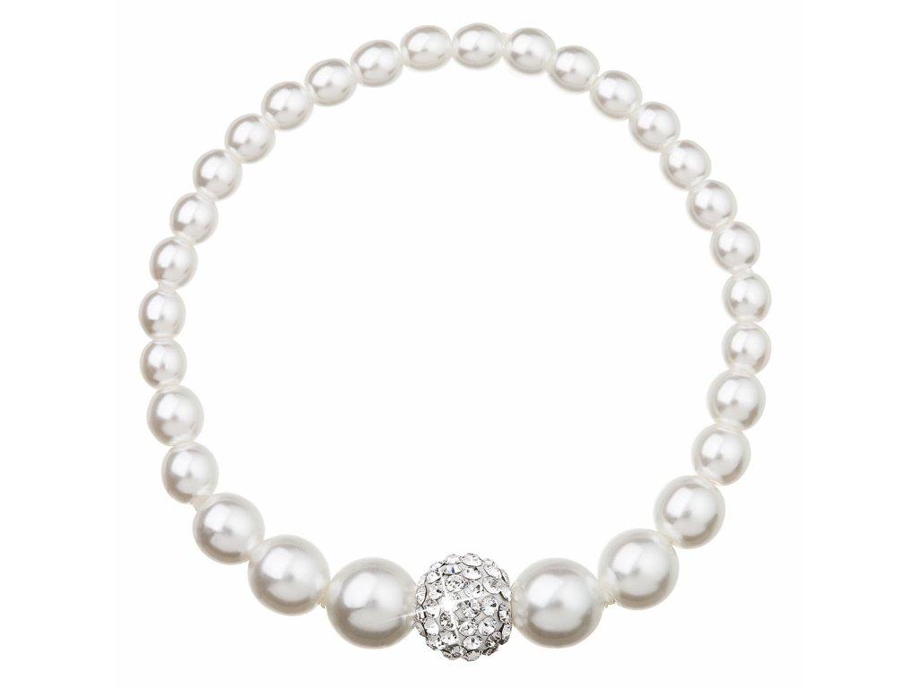 Perlový náramek bílý s krystaly Swarovski 33063.1