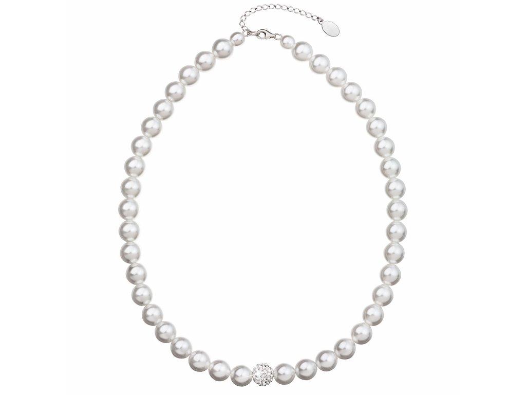 Perlový náhrdelník bílý s krystaly Swarovski 32011.1