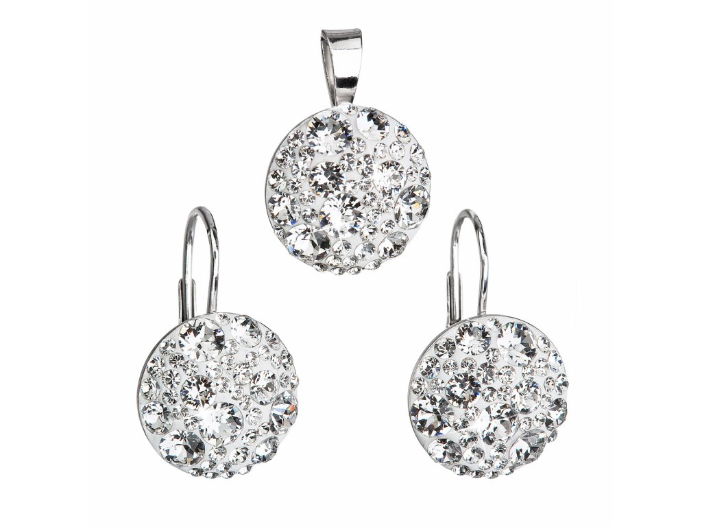 Sada šperků s krystaly Swarovski náušnice a přívěsek bílé kulaté 39117.1