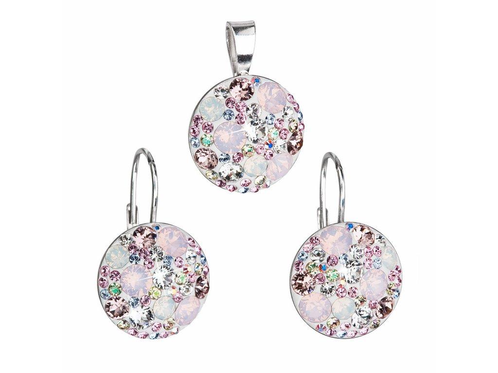 Sada šperků s krystaly Swarovski náušnice a přívěsek růžové kulaté 39117.3
