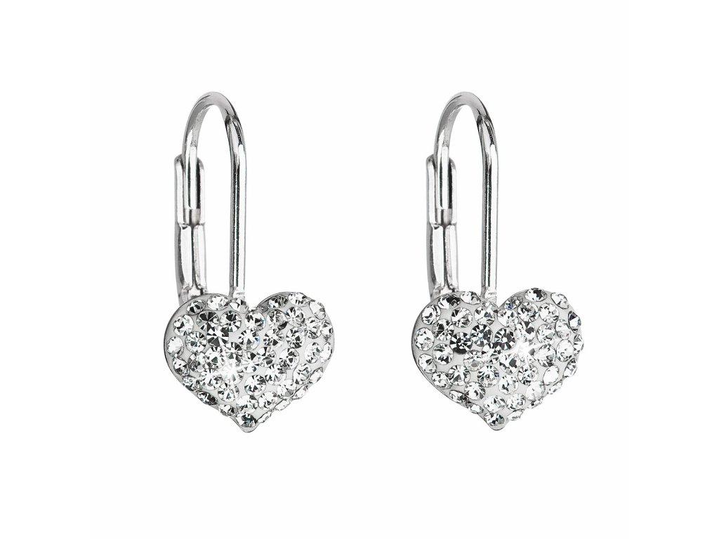 Stříbrné náušnice visací s krystaly Swarovski bílé srdce 31125.1