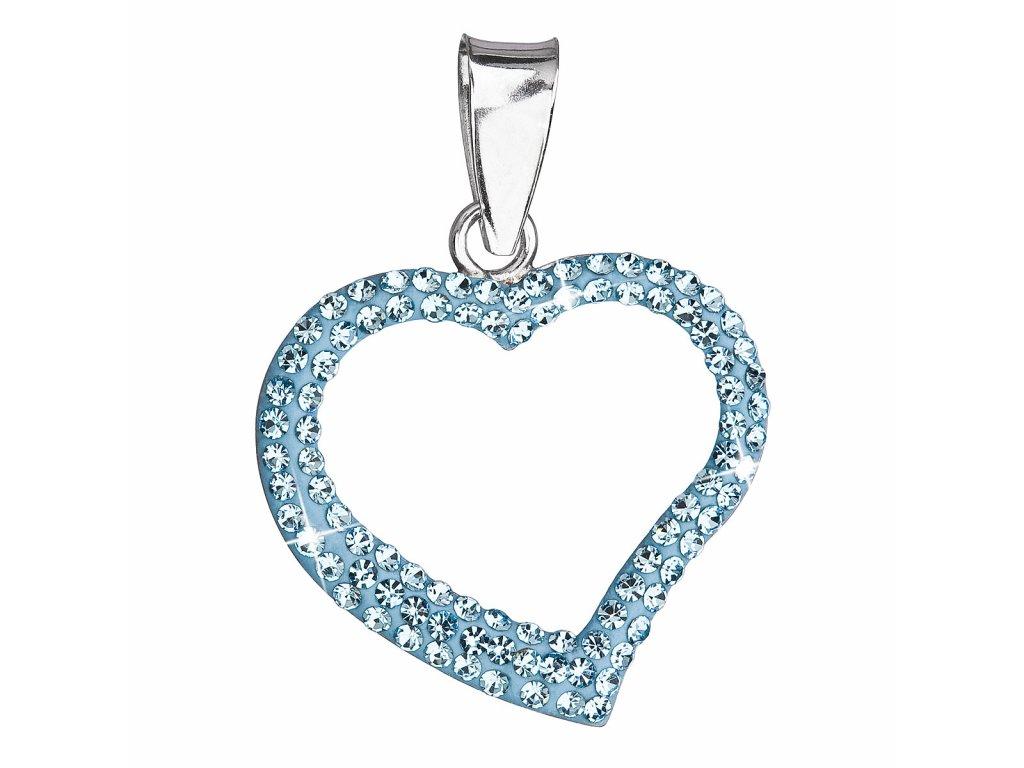 Stříbrný přívěsek s krystaly Swarovski modré srdce 34093.3