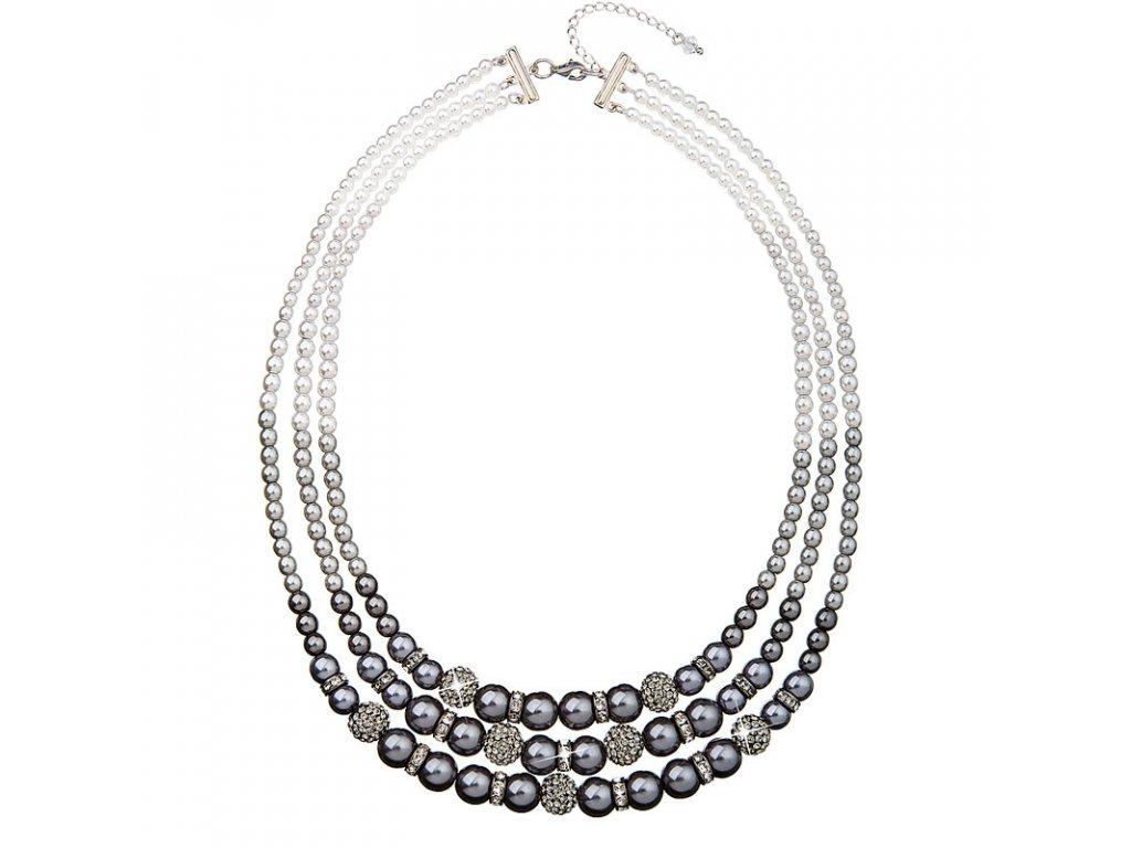 Perlový náhrdelník šedý s krystaly Swarovski 32010.3