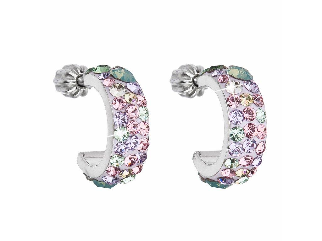 Stříbrné náušnice kruhy s krystaly Swarovski mix barev půlkruh 31118.3 Sakura