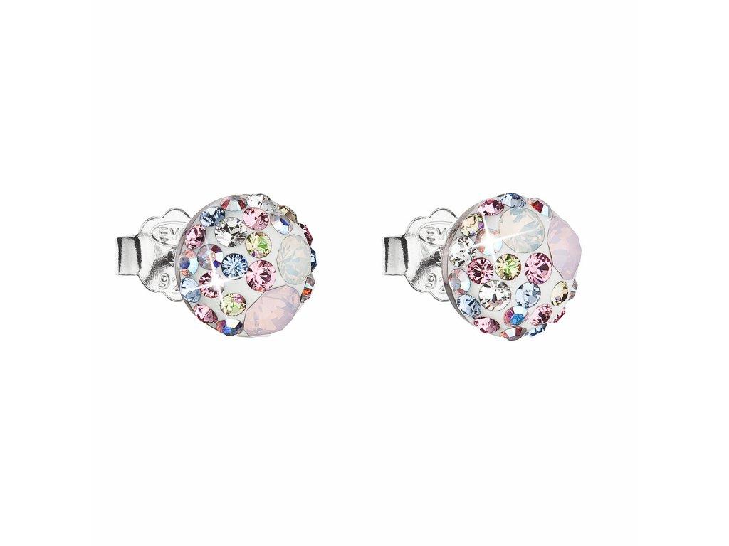 Stříbrné náušnice pecka s krystaly Swarovski růžové kulaté 31136.3