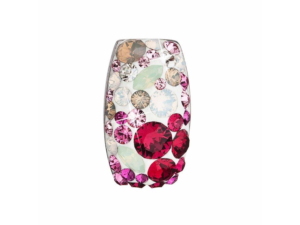 Stříbrný přívěsek s krystaly Swarovski mix barev obdélník 34194.3 sweet love
