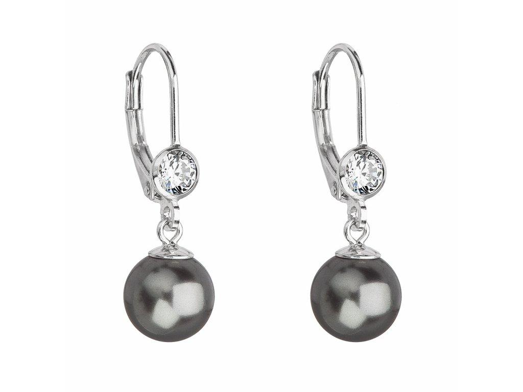 Stříbrné náušnice visací s perlou Swarovski šedé kulaté 31196.3