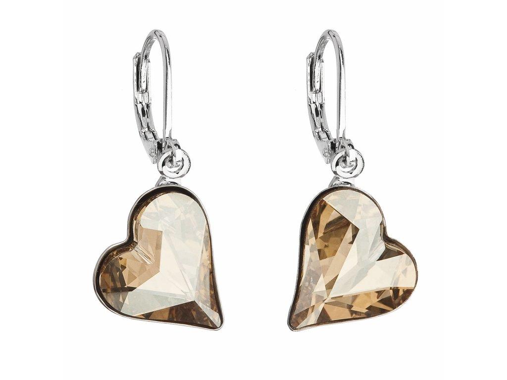 Náušnice bižuterie se Swarovski krystaly zlatá srdce 51054.5