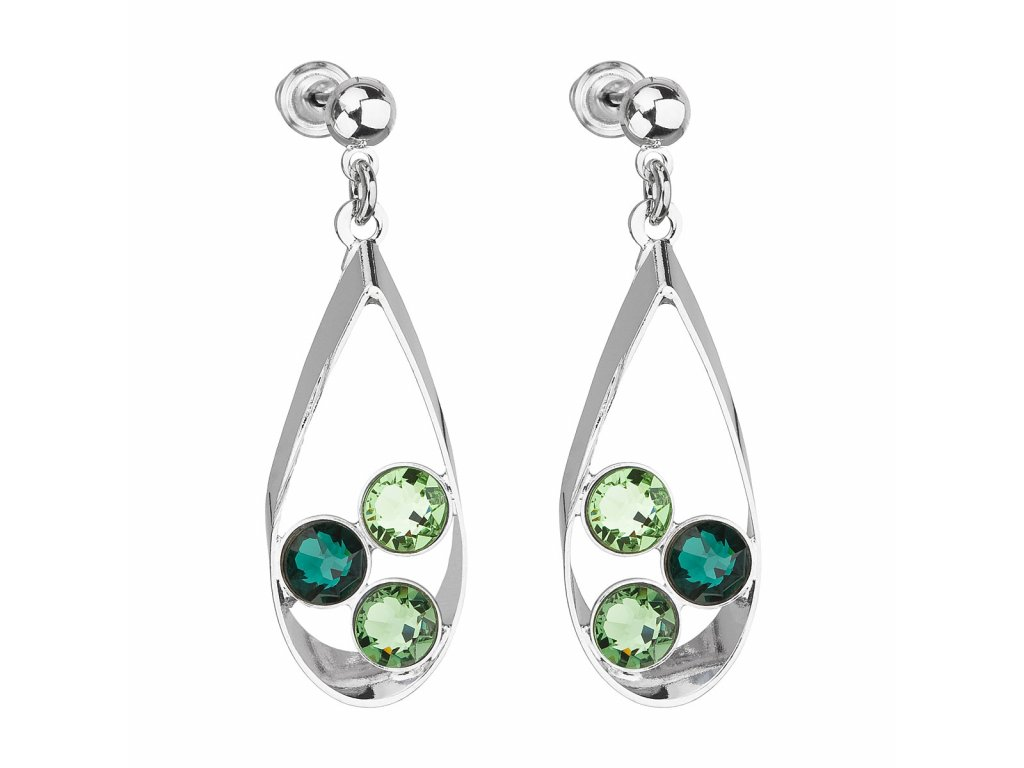 Náušnice bižuterie se Swarovski krystaly mix barev zelená slza 51064.3