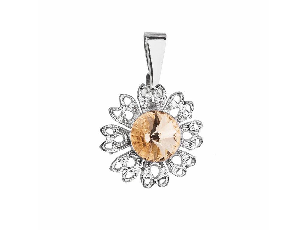 Přívěsek bižuterie se Swarovski krystaly oranžová kytička 54032.3
