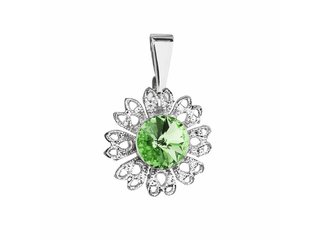Přívěsek bižuterie se Swarovski krystaly zelená kytička 54032.3