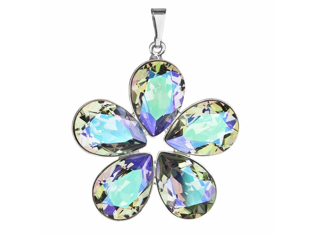 Přívěsek bižuterie se Swarovski krystaly zelená fialová kytička 54037.5