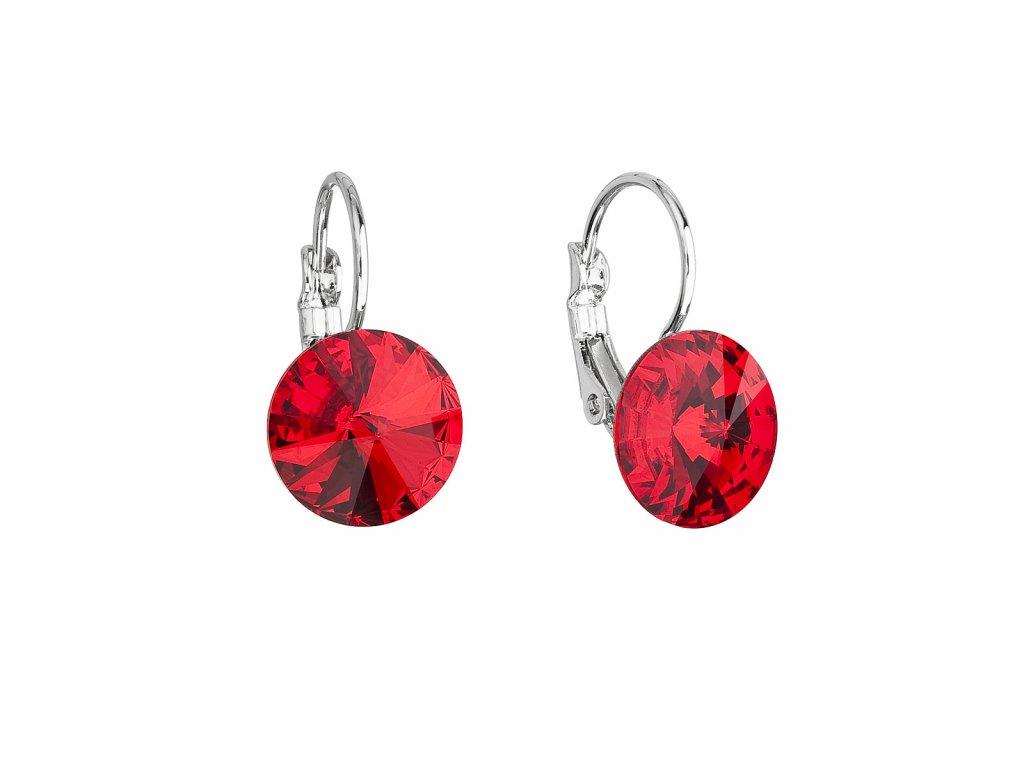 Náušnice bižuterie se Swarovski krystaly červené kulaté 51002.3