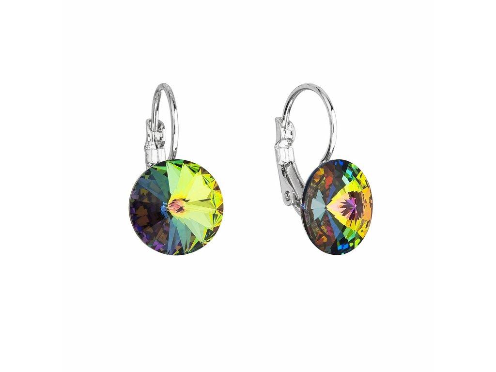 Náušnice bižuterie se Swarovski krystaly zelené kulaté 51002.5