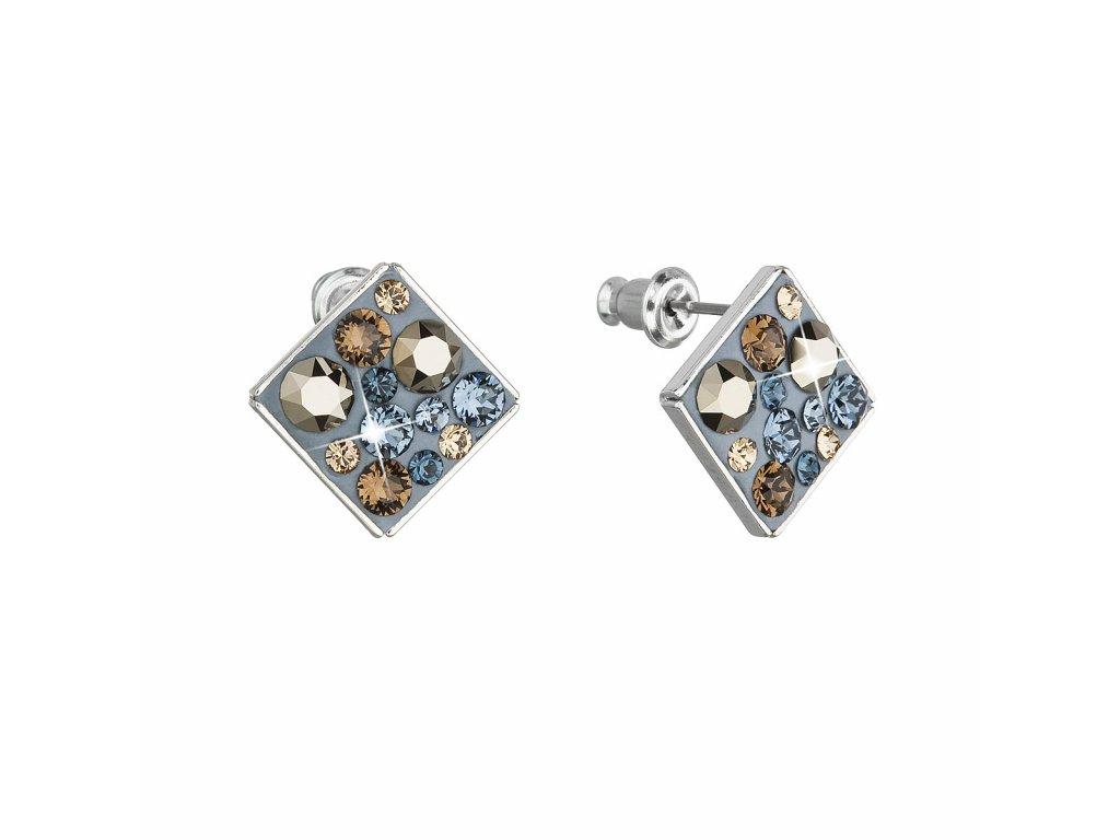 Náušnice bižuterie se Swarovski krystaly modré kosočtverec 51032.3 denim blue