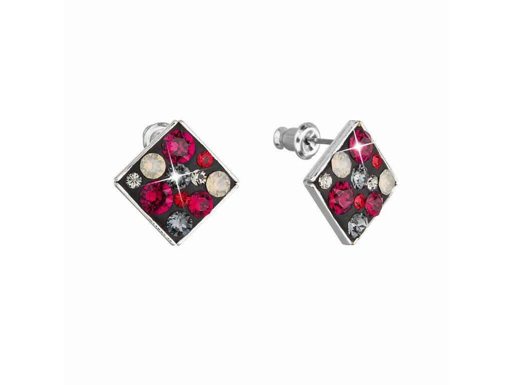 Náušnice bižuterie se Swarovski krystaly červené kosočtverec 51032.3