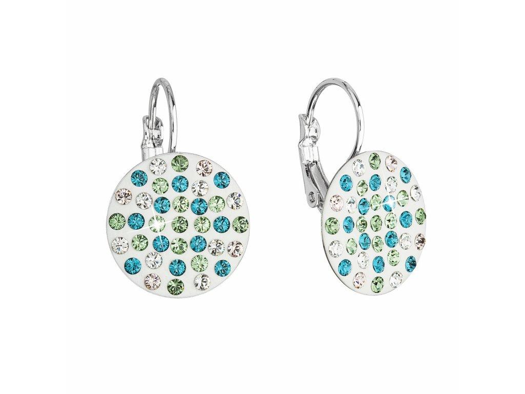 Náušnice bižuterie se Swarovski krystaly zelené kulaté 51033.3