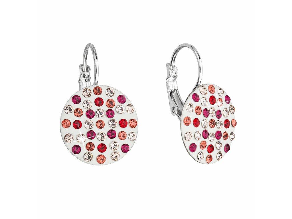 Náušnice bižuterie se Swarovski krystaly červené kulaté 51033.3