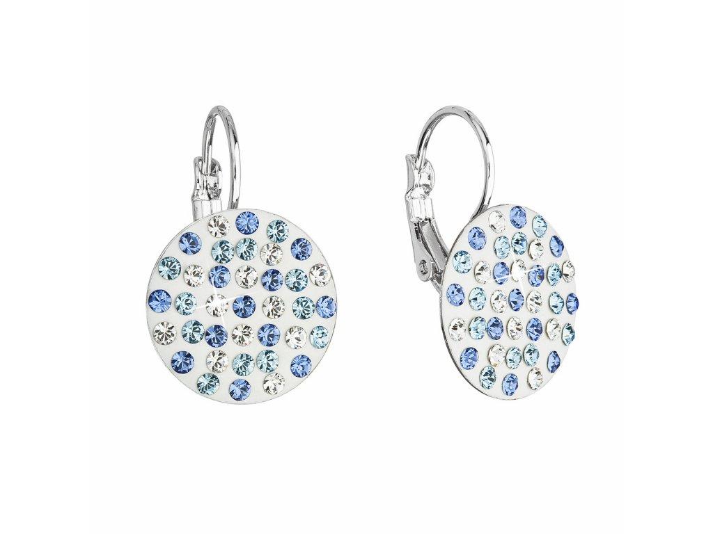 Náušnice bižuterie se Swarovski krystaly modré kulaté 51033.3