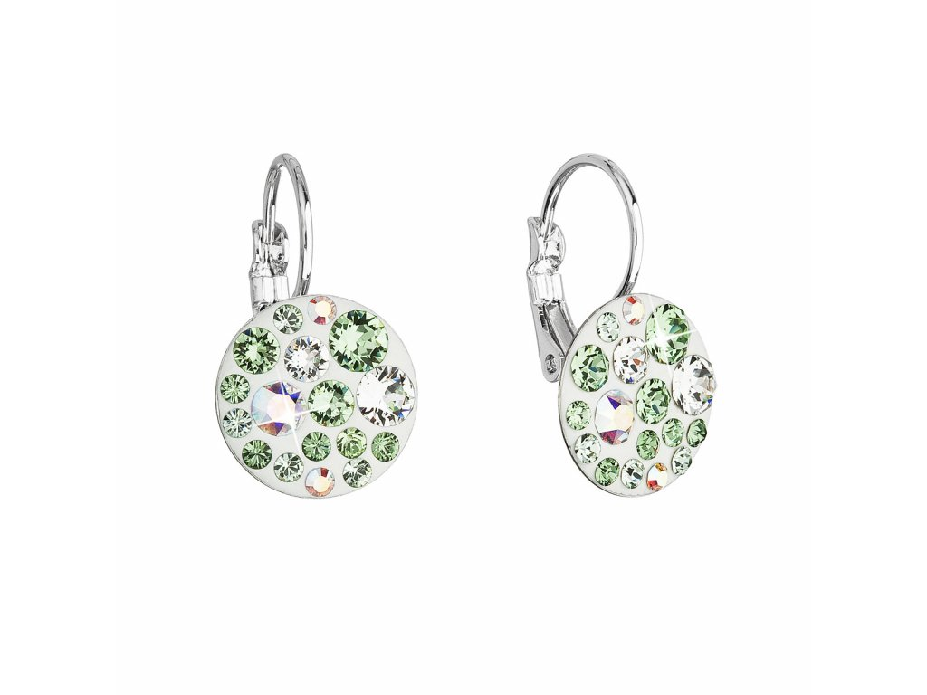Náušnice bižuterie se Swarovski krystaly zelené kulaté 51035.3