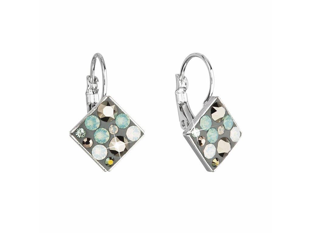 Náušnice bižuterie se Swarovski krystaly mix barev zelená modrá hnědá kosočtverec 51036.4