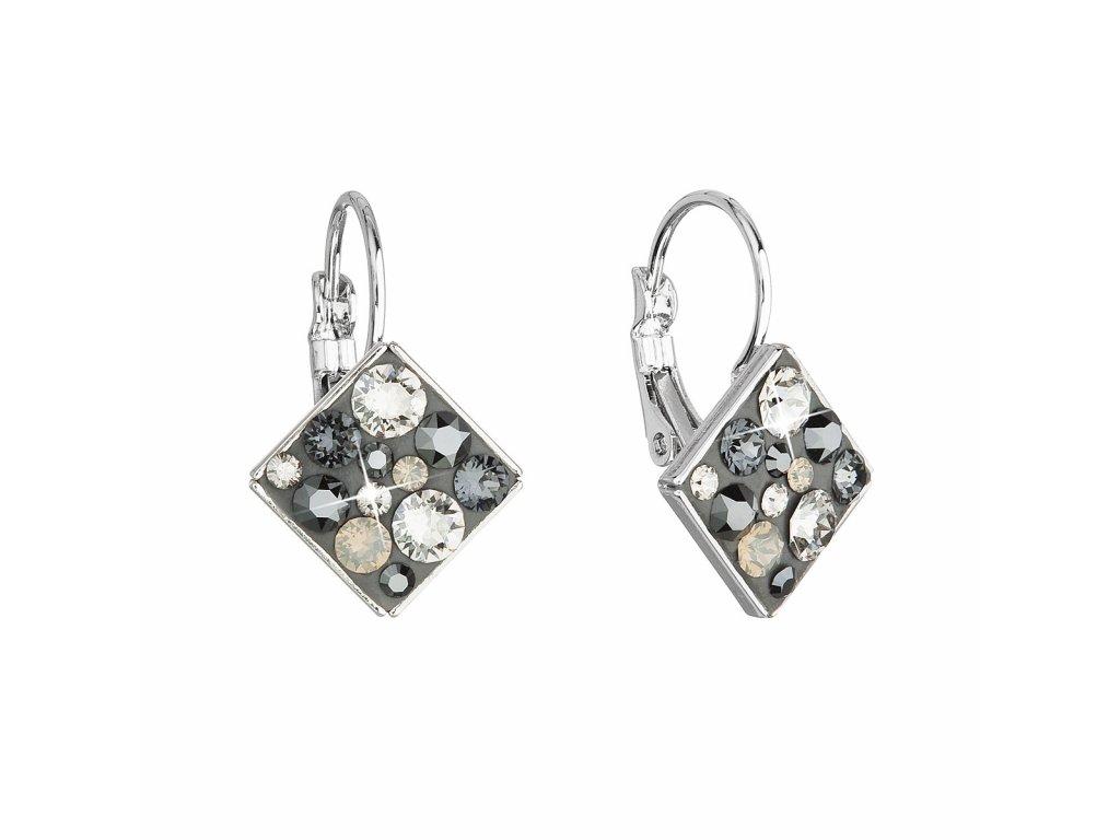 Náušnice bižuterie se Swarovski krystaly šedé kosočtverec 51036.5