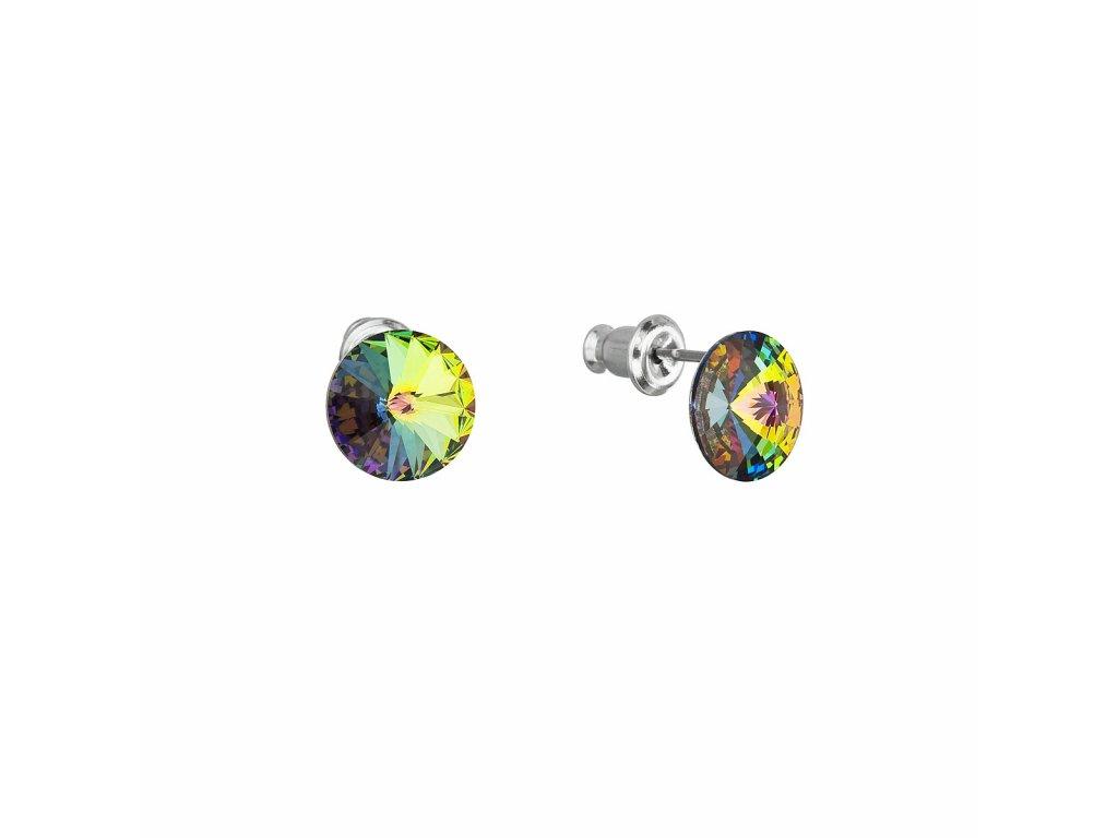 Náušnice bižuterie se Swarovski krystaly zelené kulaté 51037.5
