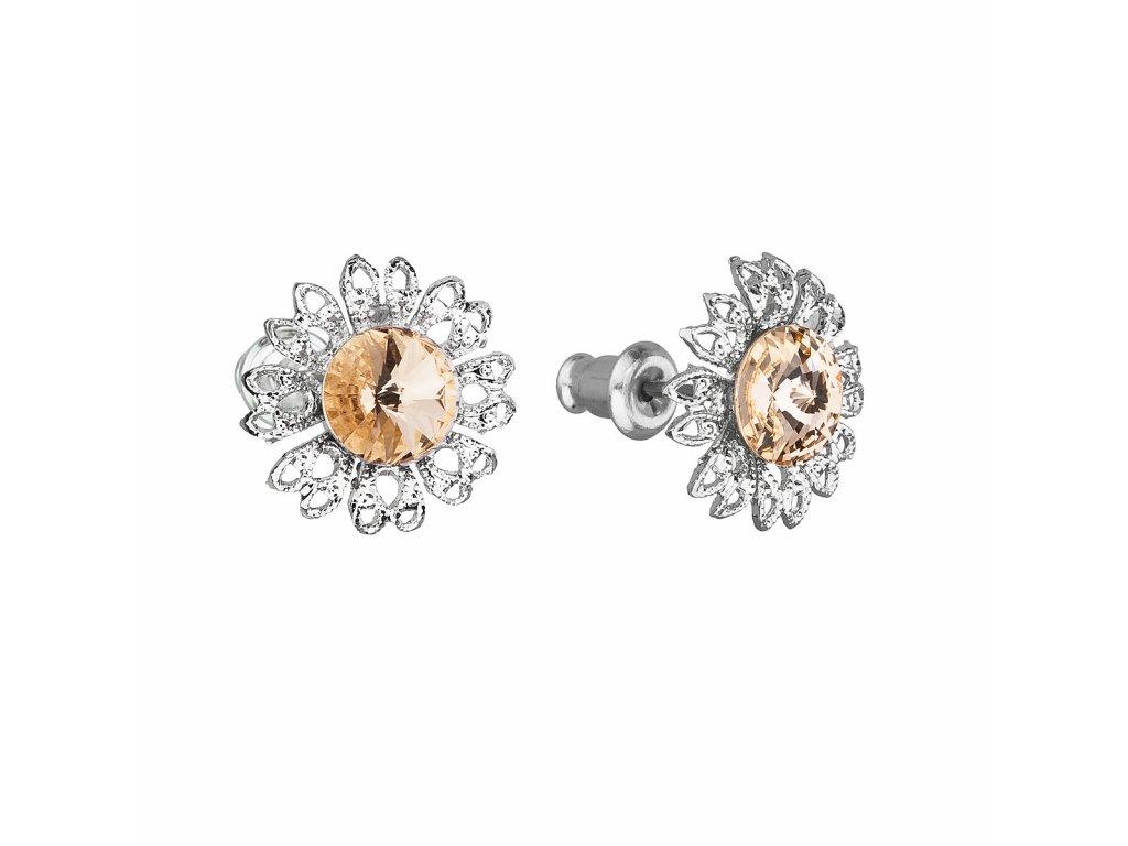 Náušnice bižuterie se Swarovski krystaly oranžová kytička 51042.3 light peach