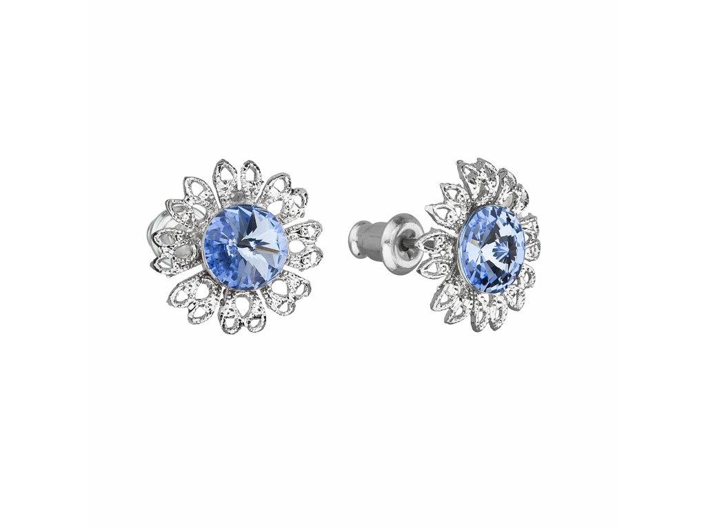 Náušnice bižuterie se Swarovski krystaly modrá kytička 51042.3 light sapphire