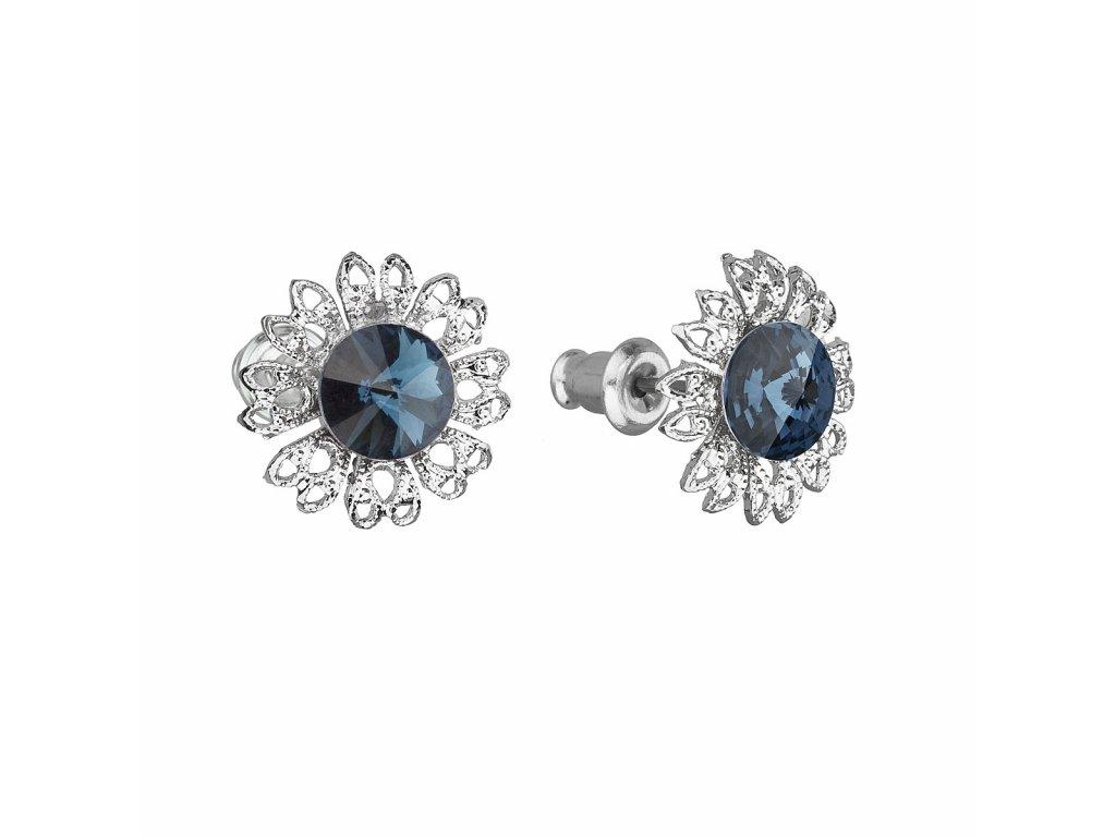 Náušnice bižuterie se Swarovski krystaly modrá kytička 51042.3 montana